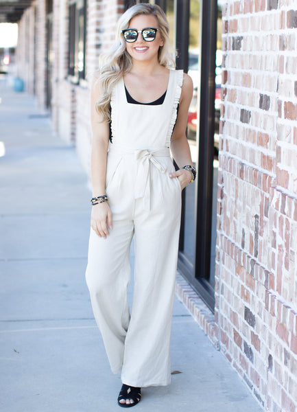What A Gem Linen Jumpsuit: Beige