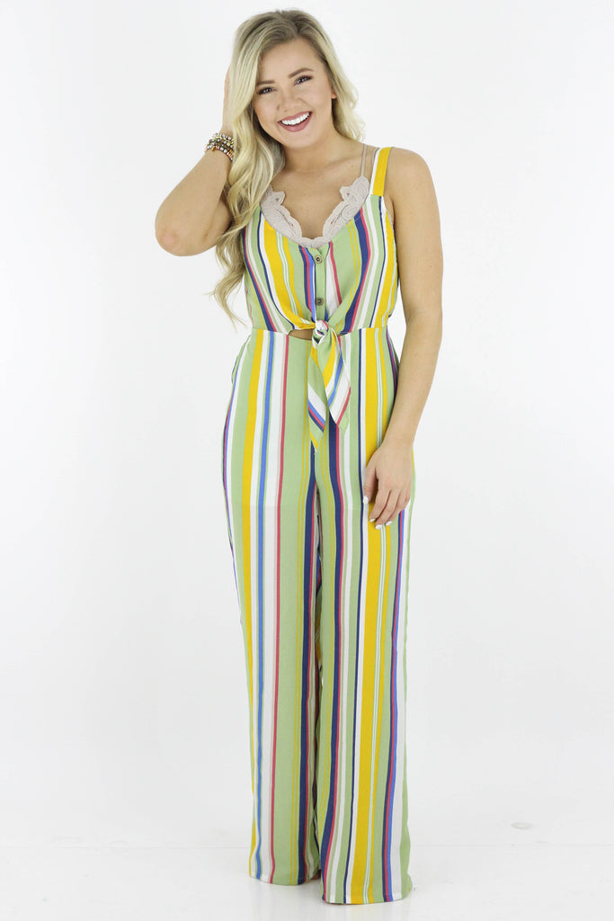 My Heart Is Yours Striped Jumpsuit