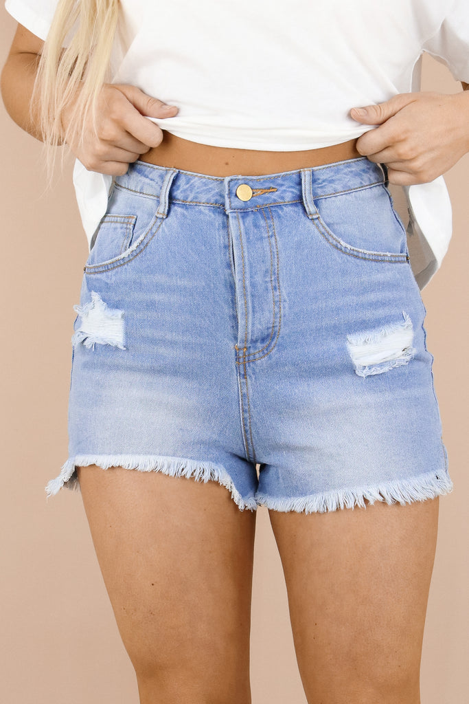 Early Mornings Distressed Denim Shorts