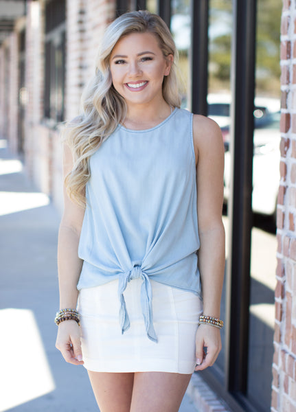 Turn This Around Sleeveless Top: Denim