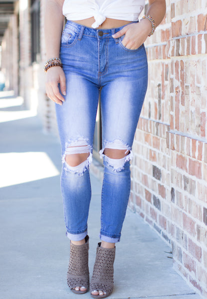 Times Up Skinny Jeans: Medium Blue