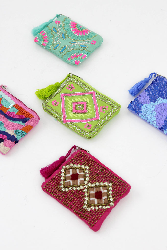 Embellished Cotton Coin Purse