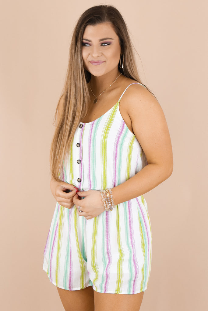 At Your Request Striped Romper