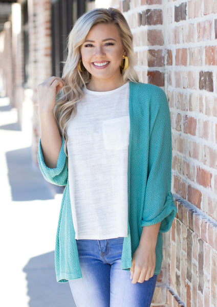 Pieces Of My Heart Cardigan: Mint