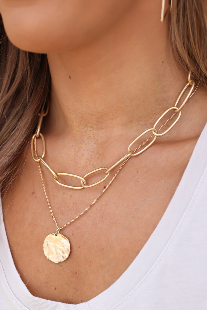Chunky Chain Coin Layered Necklace
