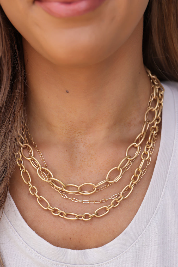 Chunky Triple Layer Chain Link Necklaces