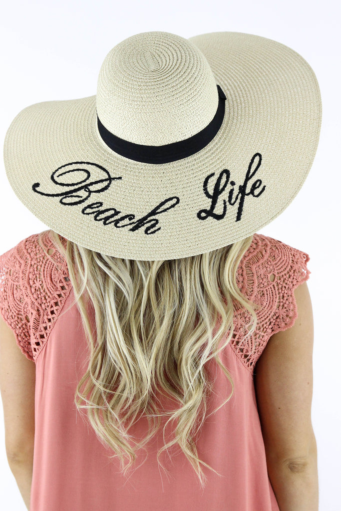 Beach Life Message Embroidered Sun Hat