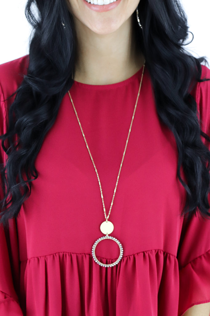 Beaded Circle & Disc Necklace