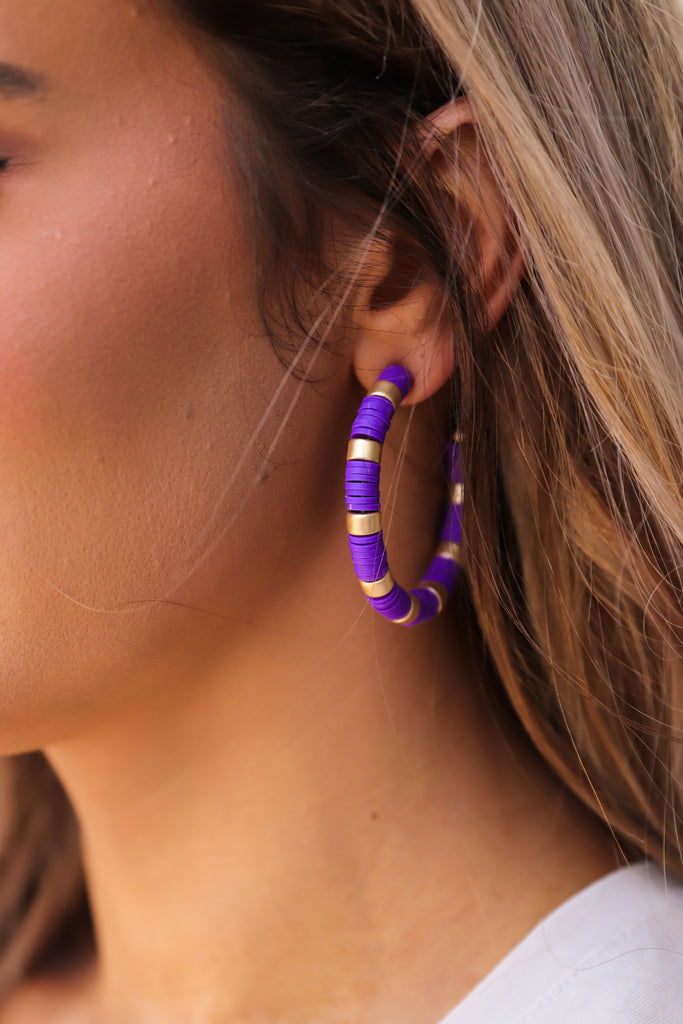 Rubber Disc 2'' Hoop Earrings