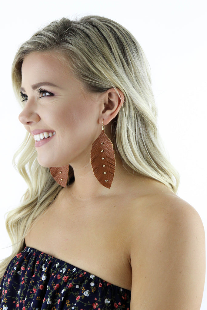 Leather Feather & Stud Dangle Earrings