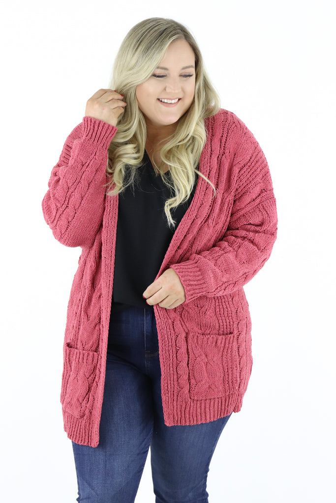 CURVY: Word In Town Chenille Cardigan