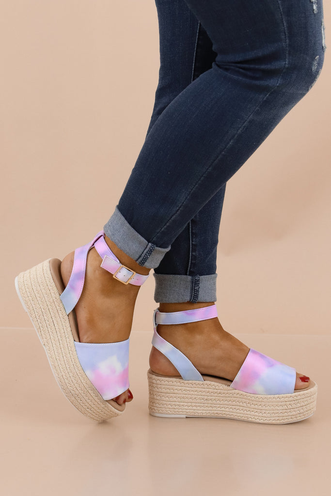 Go For The Bold Tie Dye Platform Sandals