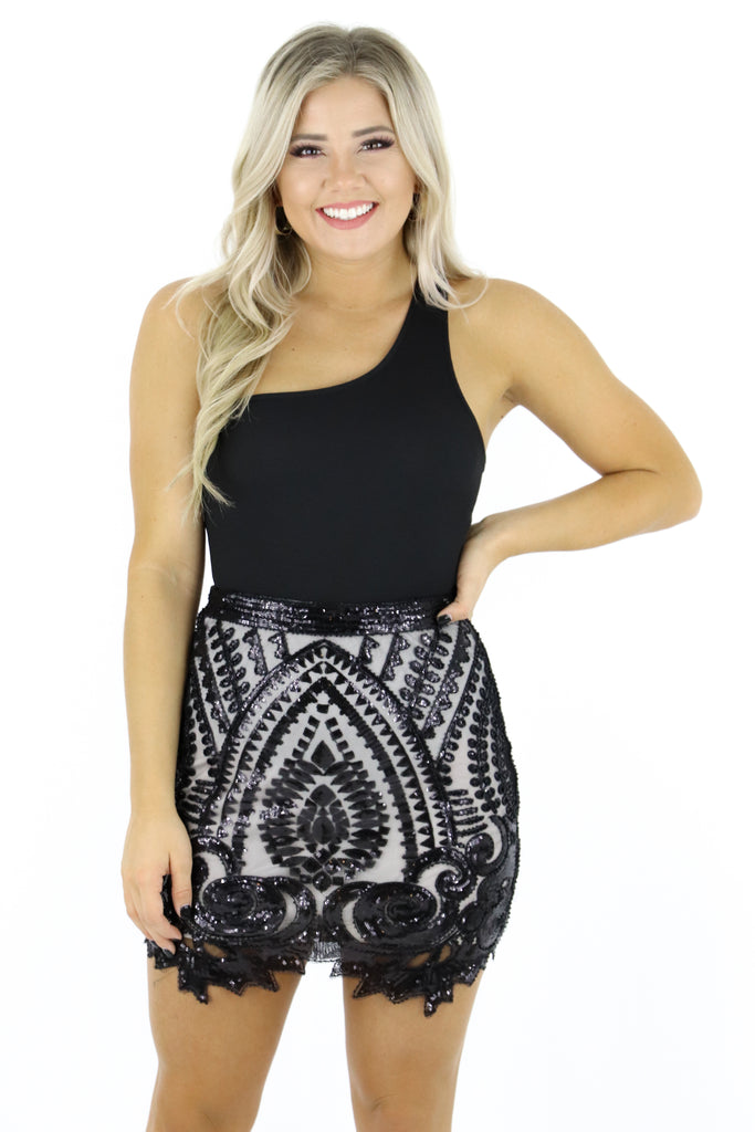 Make The Reservation Sequin Skirt
