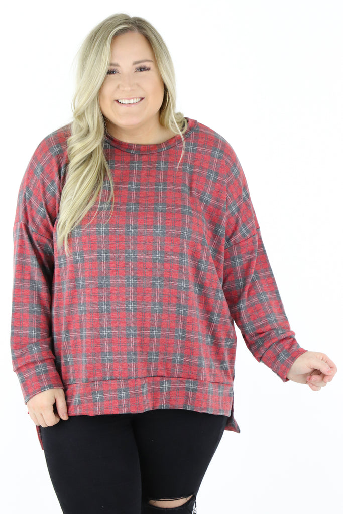 CURVY: Between Moments Plaid Top