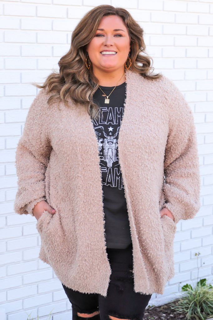 CURVY: Love The Little Things Fuzzy Cardigan