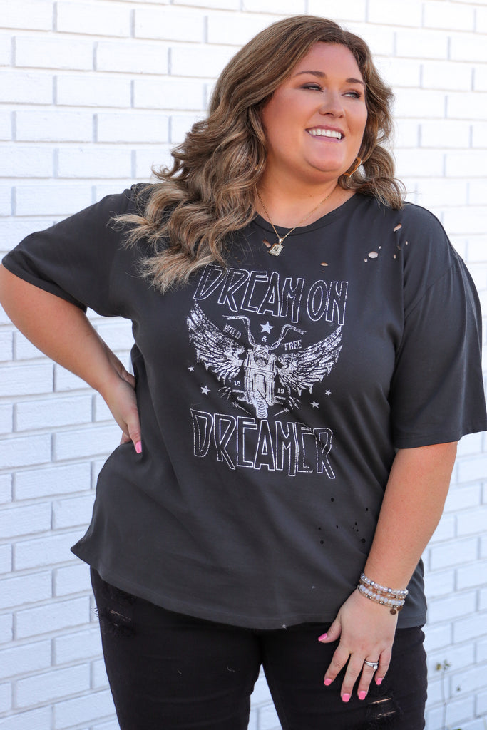 CURVY: Dream On Dreamer Distressed Graphic Tee