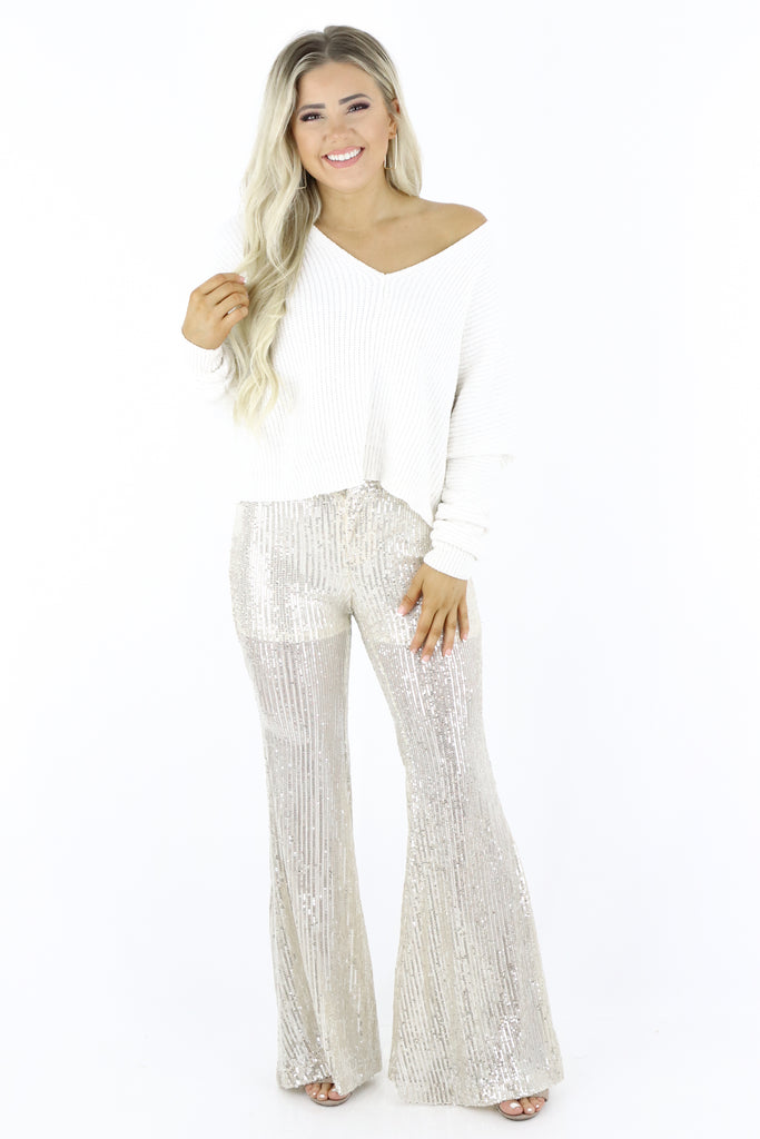 Fit And Flare Sequin Pants