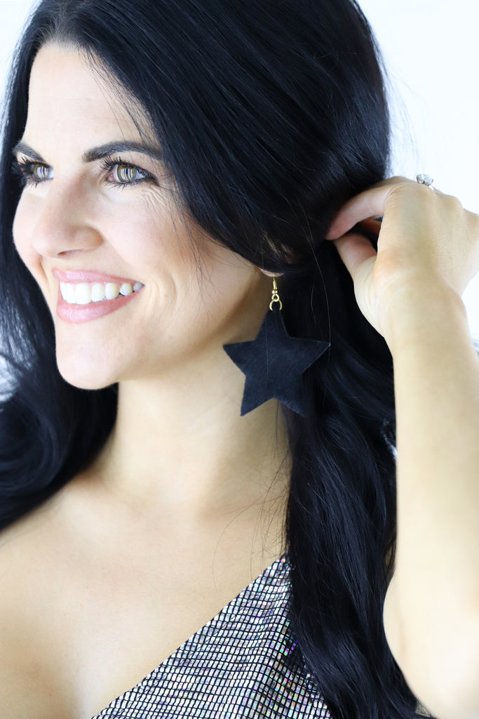 Cowhide Star Earrings