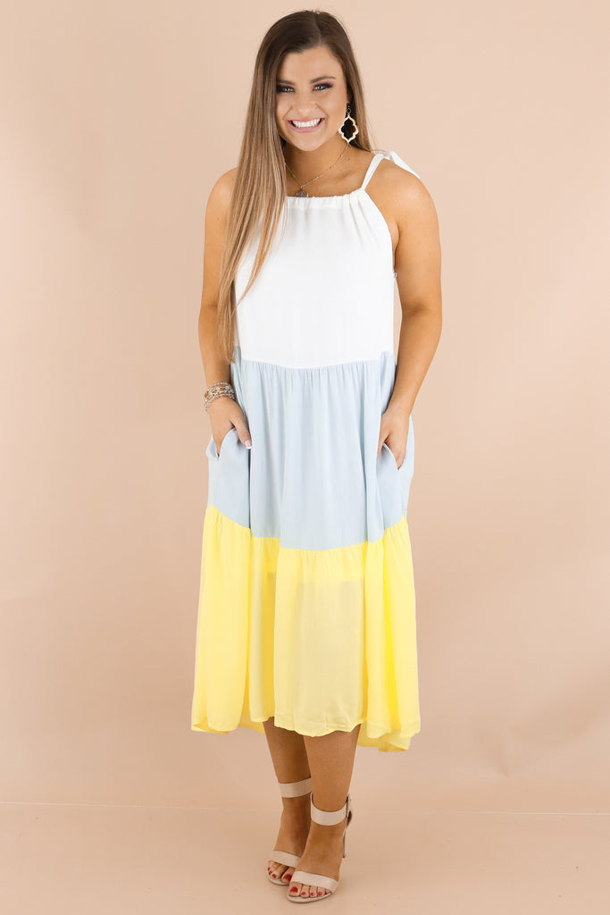 Define Comfort Color Block Midi Dress