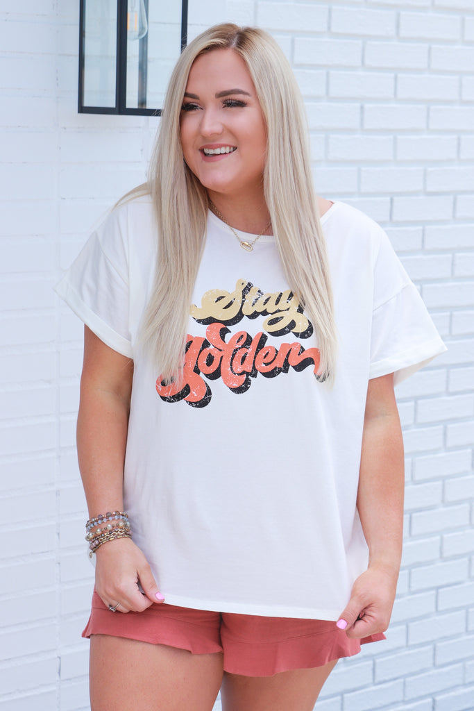 CURVY: Vintage Stay Golden Graphic Top
