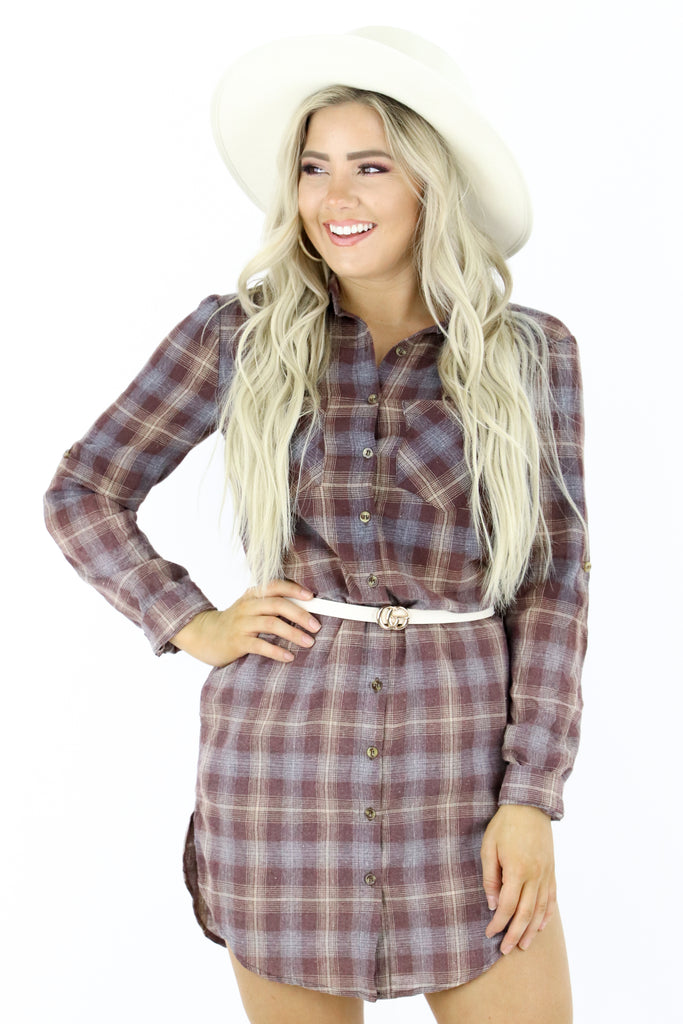 Stole Your Heart Plaid Dress