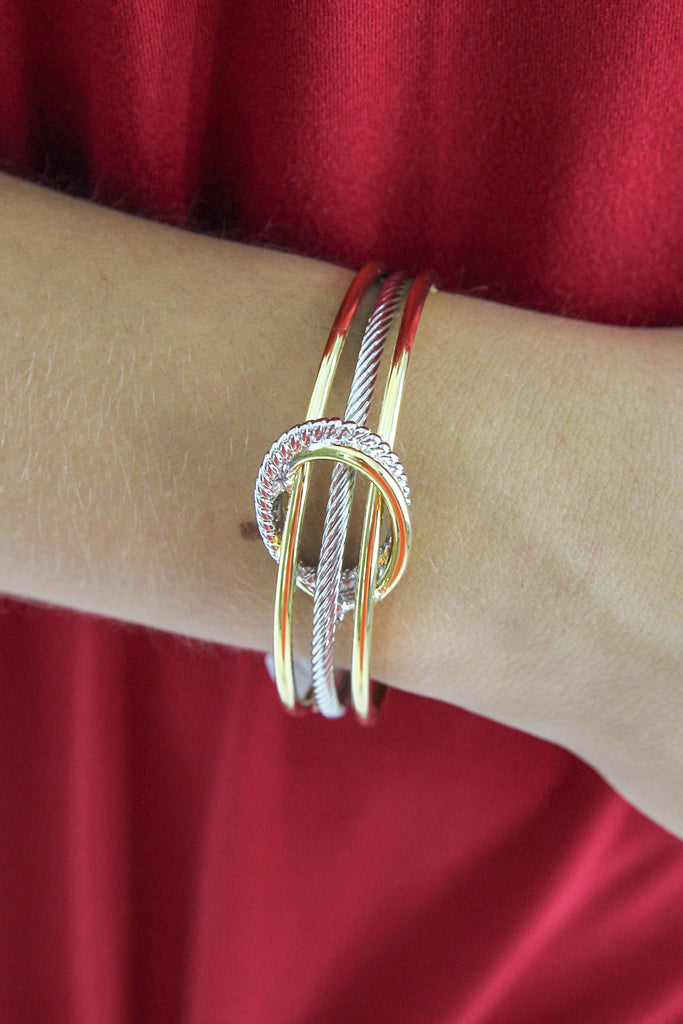 DY Inspired Twisted Oval Cuff Bracelet