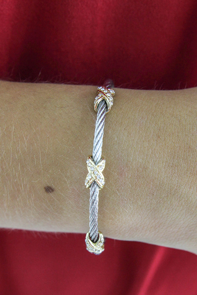 DY Inspired Cable & Criss Cross Crystal Bracelet
