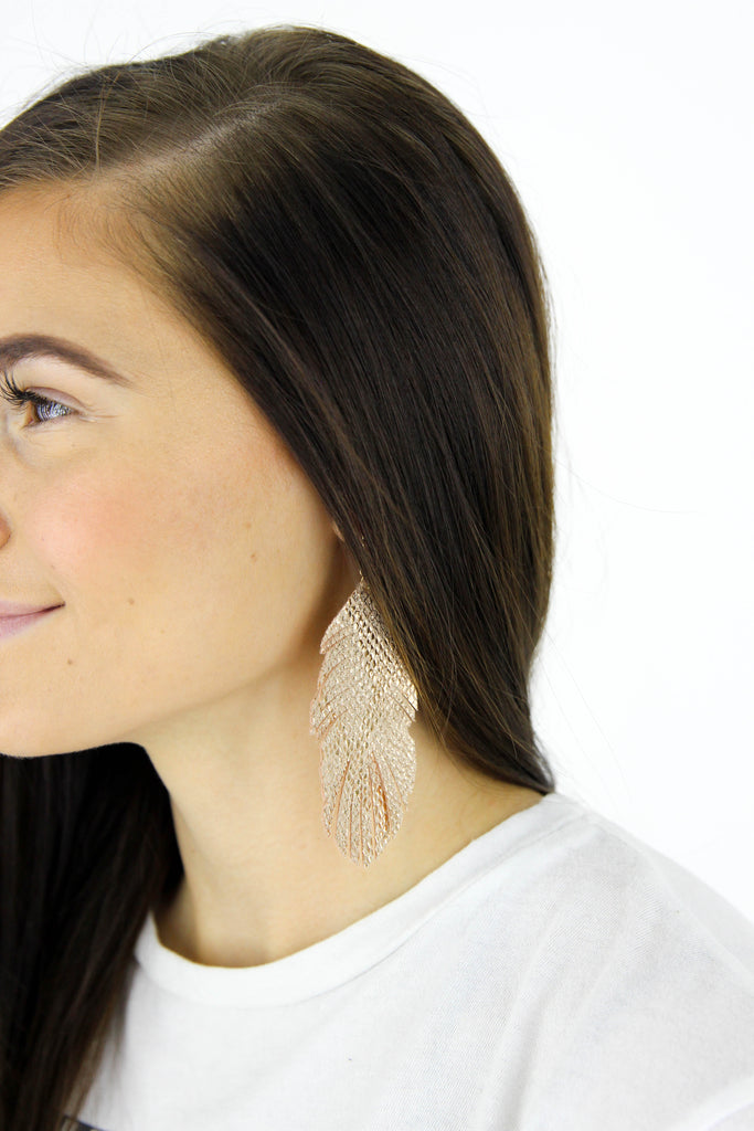 Snake Skin Feather Earrings