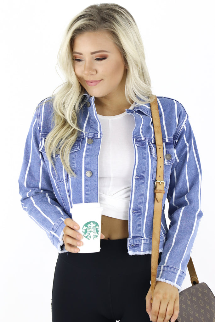 Tell You The Truth Striped Denim Jacket