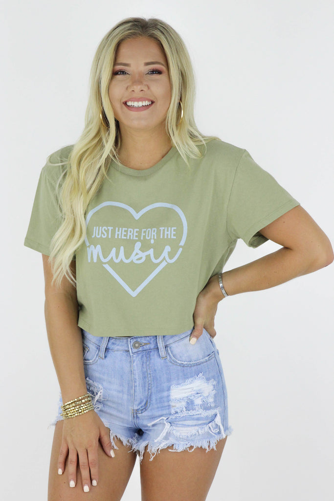 Here For The Music Crop Tee