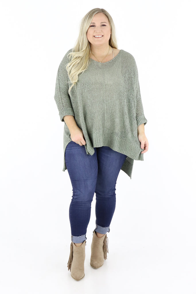 CURVY: Classy Comfort High Low Sweater