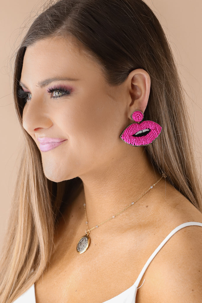 Beaded Lips Statement Earrings