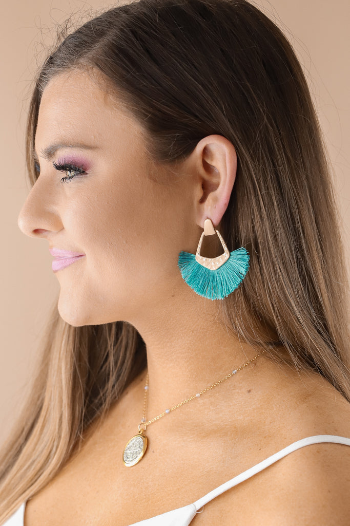 Hammered Fan Tassel Earrings