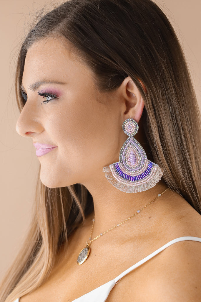 Beaded Statement Fan Earrings