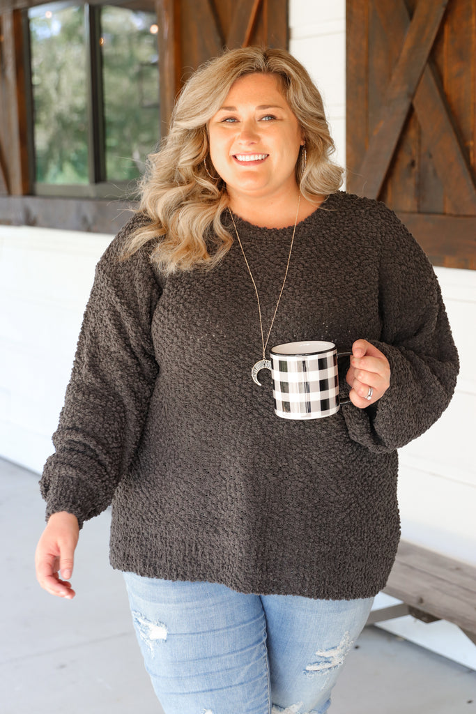 CURVY: Sittin' Cozy By The Fire Popcorn Sweater