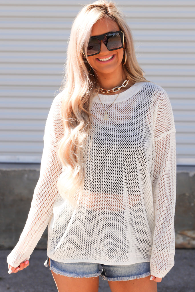 Music To My Ears Mesh Sweater
