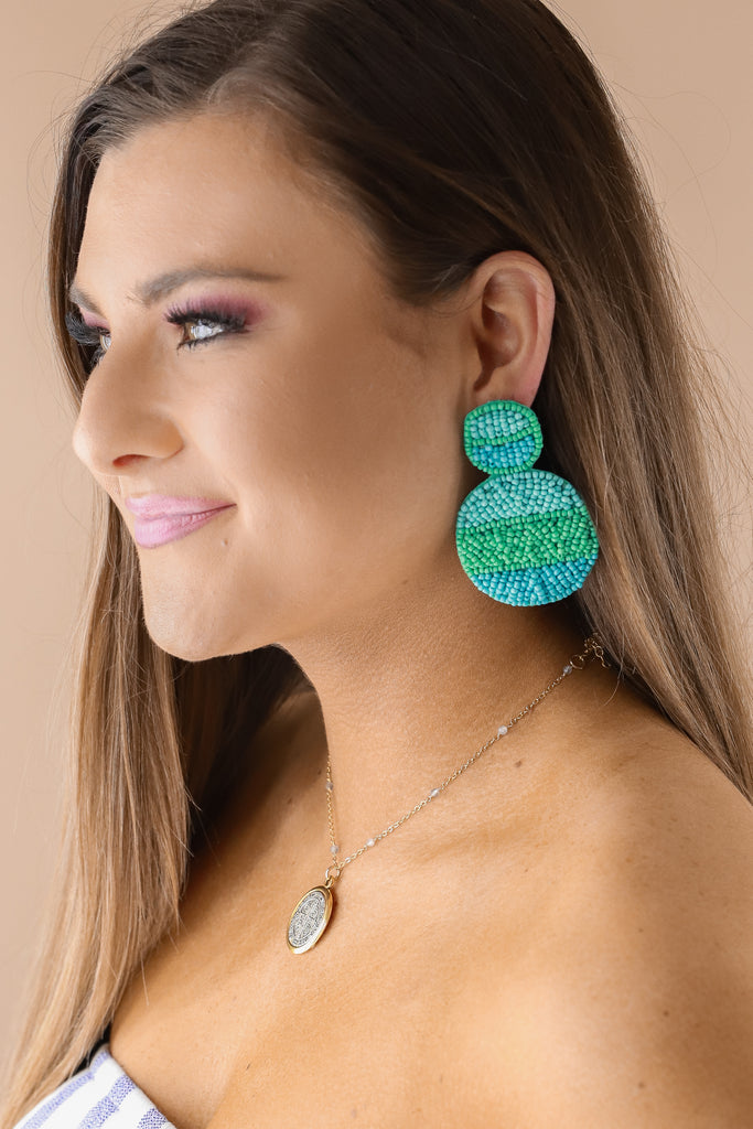 Beaded Circle Statement Earrings