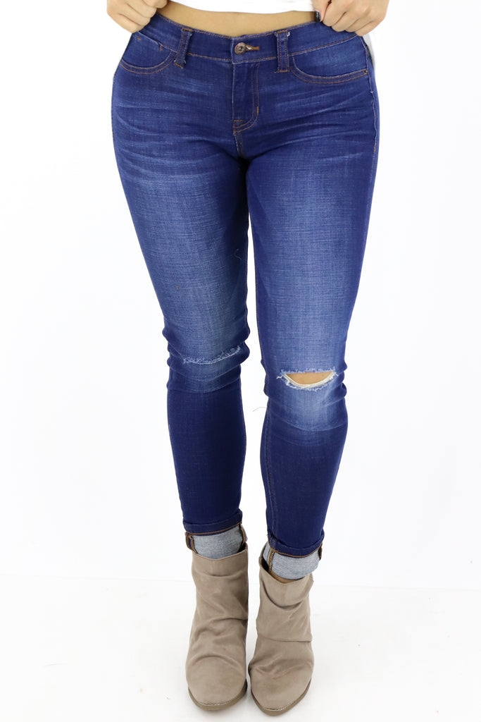 Big Plans Mid Rise Distressed Skinny