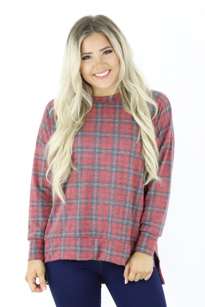 Between Moments Plaid Top
