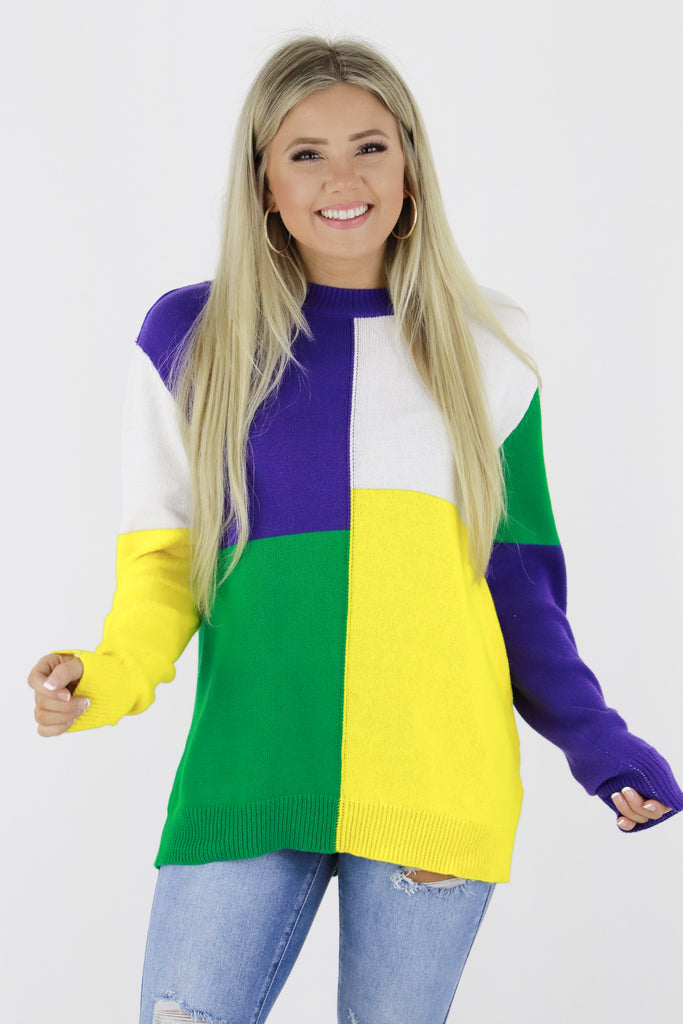Mardi Gras Party Color Block Sweater