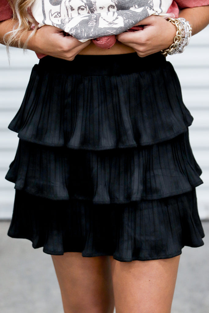 Keep On Guessing Faux Suede Skirt