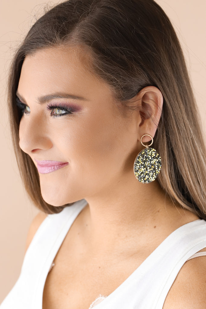 Pave Circle Glitter Disc Earrings