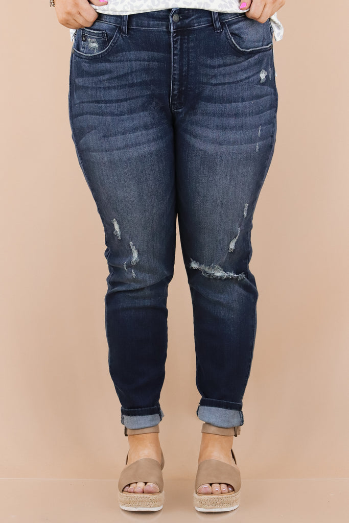 CURVY: Forever A Favorite Mid Rise Distressed Skinny
