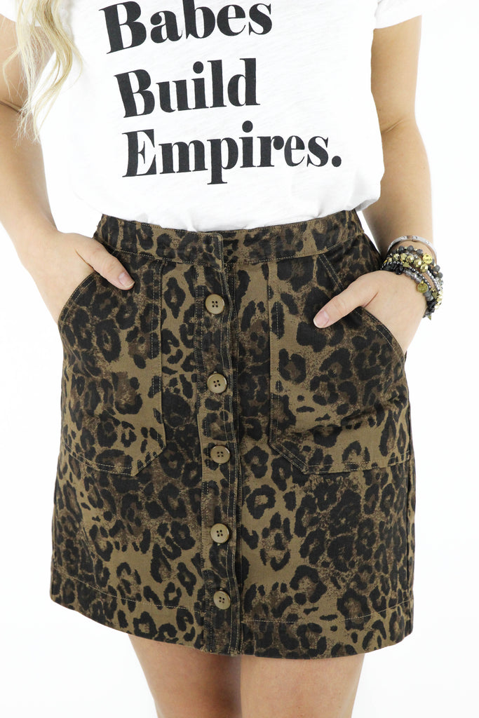 See It Happen Leopard Printed Skirt