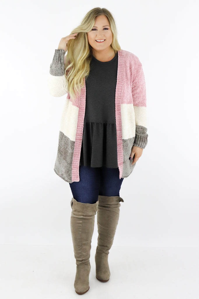 CURVY: Oh So Tempting Chenille Cardigan