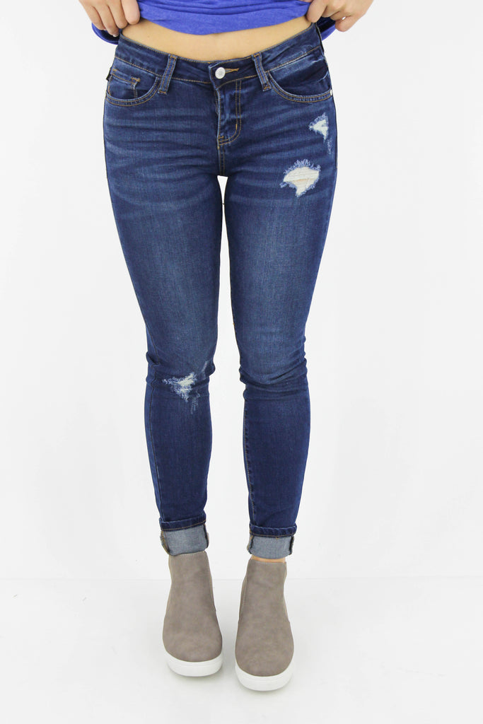 Decide Every Morning Mid Rise Distressed Skinny