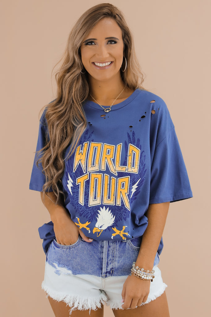 Tour Of The World Distressed Graphic Tee