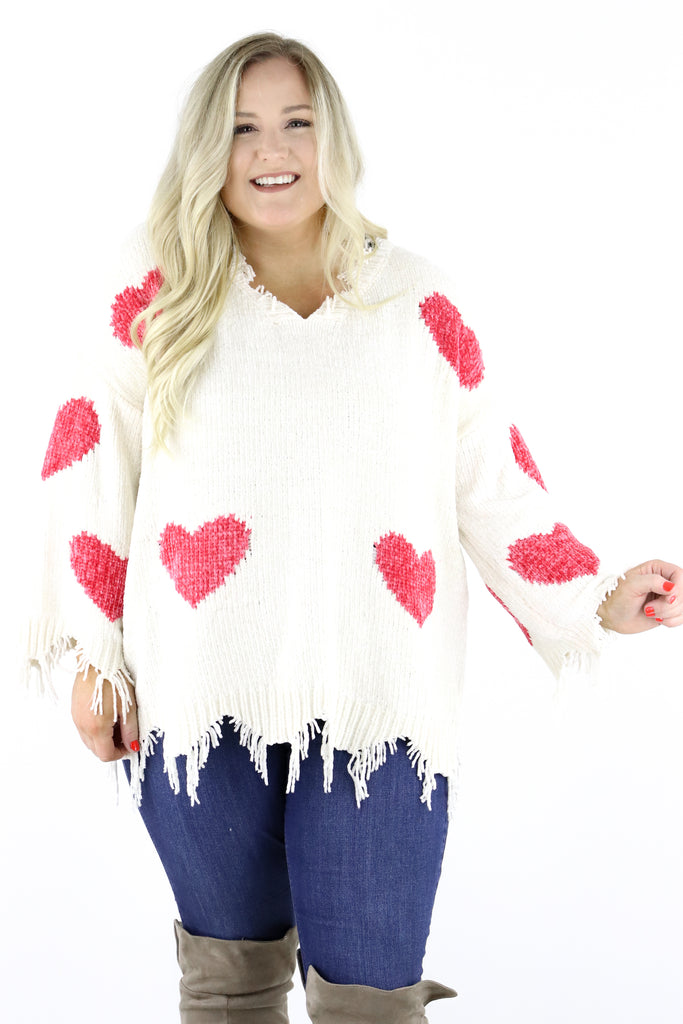 CURVY: Love Is Here Chenille Sweater