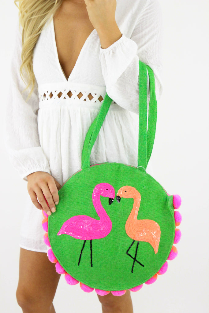Jelly Bean Flamingo Round Tote