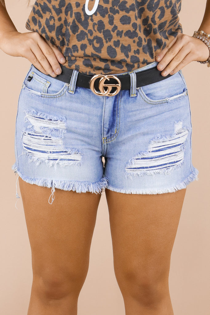Capture The Moments Distressed Boyfriend Shorts